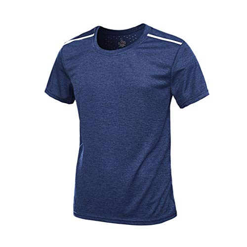 Men's Summer Casual O-Neck T-Shirt Fast-Dry Breathable Top Fitness Sport Blouse Outdoor Beach Shirt -