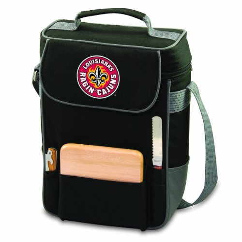 (NCAA Louisiana Lafayette Ragin Cajuns Duet Insulated Wine and Cheese Tote with Team Logo)