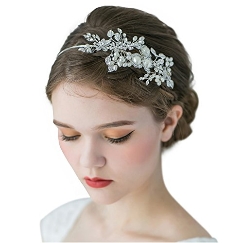 SWEETV Handmade Pearl Wedding Headbands for Women, Silver Rhinestone Hair Band Bridal Headpiece, Hair Jewlery Accessories