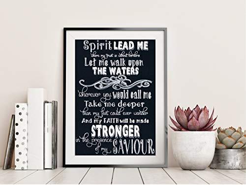 (MalertaART Spirit Lead Me Hillsong Oceans Chalkboard Song Lyrics Christian Gift Home Decor Framed Wall Art )