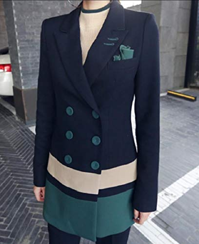 Comaba Womens 3 Button Business Trim-Fit Color Block Blazer Jacket Pants 1 S by Comaba (Image #2)