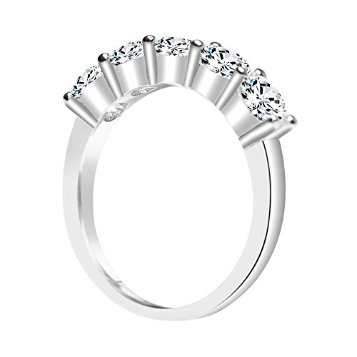 Solstice Sterling Silver 925 Round 5 Stone Band Ring Made with Swarovski Zirconia (2 cttw, Size 8) by ZKS Designs (Image #1)