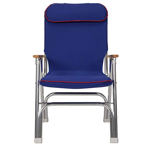 Seachoice 78511 High-Back Canvas Folding Chair - Blue with Red Trim - Folds for Easy Storage, Blue/Red