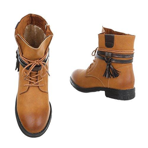 Ital-Design Zapatos Para Mujer Botas Tacón Ancho Botines con Cordones Braun BH52-KB