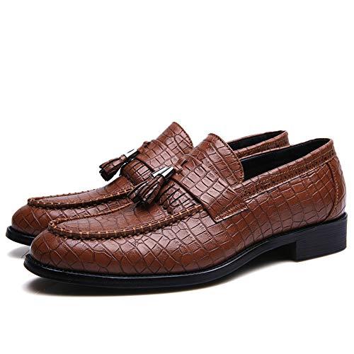 scarpe pedale Jiuyue con di un a di da 2018 abito shoes Frangia Color nuziale punta da paio cerimonia Pelle Uomo pelle Marrone formali di uomo a morbida Marrone EU 41 serpente Scarpe per Dimensione r7rqawH