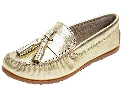 Minnetonka Chaussures Femmes Grace Moc Slip On Glands En Cuir Or