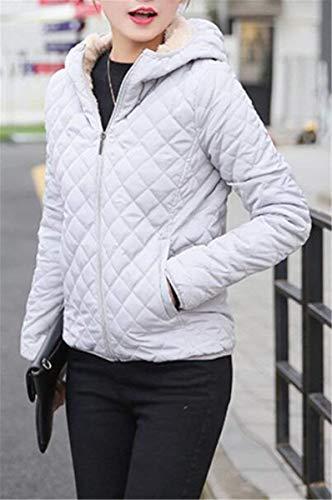 Abrigo Chaqueta Terciopelo Grueso Cortos Elegantes Caliente Modernas Acolchado Outerwear Largo Grau Acolchada Abrigos Damas Sólido Moda Chaqueta Encapuchado Invierno Espesar Color Venta Manga HvgW5Zzaw