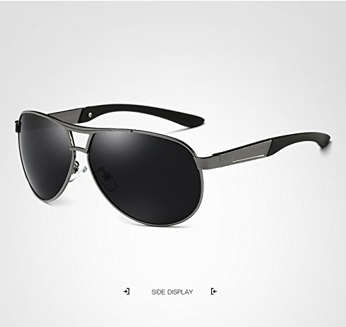 black Designer Gray Sunglasses Brand Glasses Hombres Gray Glasses Hombres GR Aviation Espejo polarizado Sunglasses espejos Sun Retro Black Color pwqBXnRa