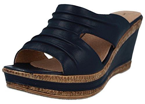 Cushion Walk Ladies Leather Lined Peep Toe Mid Wedge Heel Slip On Mules Sandals Size 3-8 Navy Fi279