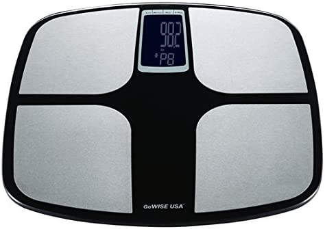 GoWISE USA Digital Body Fat Scale – FDA Approved – Measures Weight, Body Fat, Water Bone Mass, 400 lbs Capacity, Tempered Glass Black