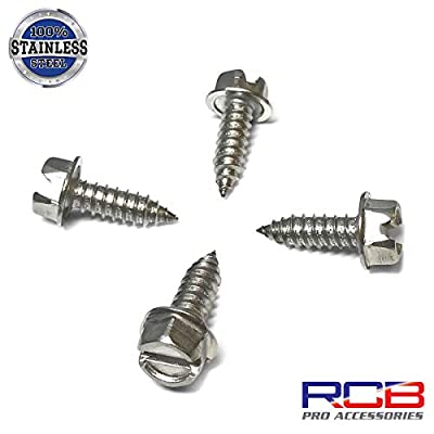 Eight (8) Stainless Steel License Plate Screws - Rustproof Stainless Steel Fasteners for Fastening License Plates, Frames & Covers on Vehicles That Use Nylon Screw Insert Retainers (Stainless Steel): Automotive