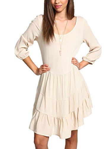 SheIn Women's Apricot Long Sleeve Asymmetrical Backless Dress(S,Apricot)