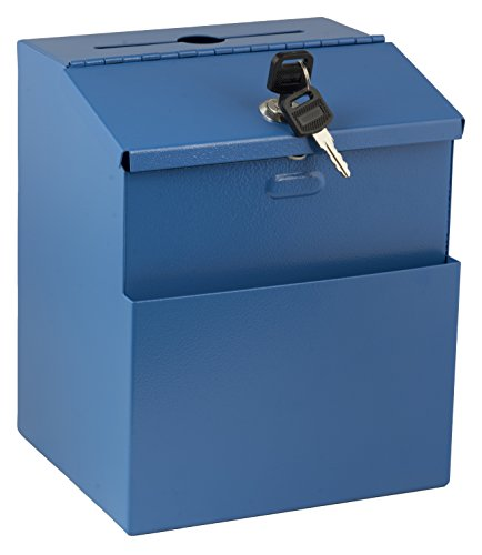 - Adir Wall Mountable Steel Suggestion Box with Lock - Donation Box - Collection Box - Ballot Box - Key Drop Box (Blue) with 25 Suggestion Cards