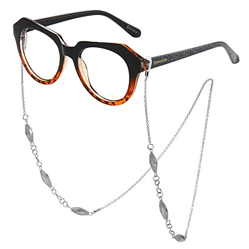 SOOLALA Striped Reading Glass Eyeglass Frame with Necklace Chains Retainer, Leopard, ClearLens