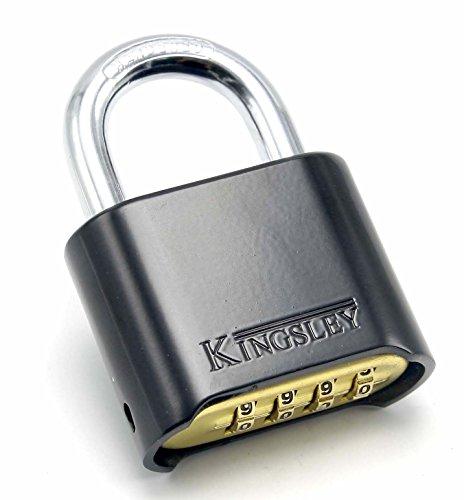 Kingsley Locks 22L Set-Your-Own Combination Padlock, Black, Hardened Steel