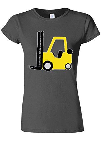 苦繊細試すForklift Truck Driver Funny Novelty Charcoal Women T Shirt Top-M