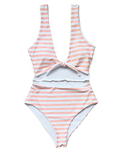 One Piece Bathing Suits High Waisted Bow-Knot Monokini Swimwear (M(US Size 4-6), Pink) (Strappy Knot)