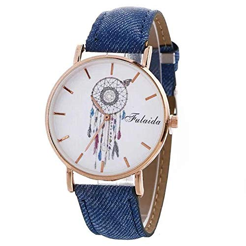 MINILUJIA Elegant Dream Catcher Rose Gold 40mm Dial Women Watches with Leather Strap Blue Jeans Color