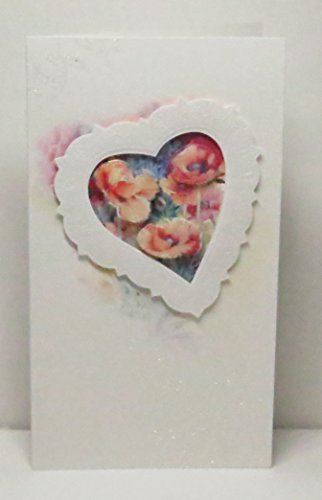 - Handmade 3D Pale Poppies in Embossed Heart Frame Watercolour Effect Blank Greeting Card with Floral Glittered Highlights - Limited Edition - 1 in stock