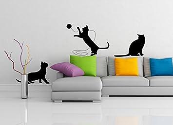 (200 x 72 cm) de la pared del vinilo adhesivo de gatos lindos/