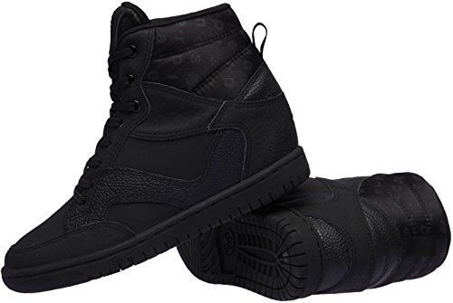 Paperplanes - 1332 Casual High Top Cool Einlegesohle Damen Sneakers Lace Up Schwarz