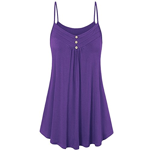 Women Soild Dress V-Neck Buttons Sleeveless Strap Knee Length Pleated Halter Causal Mini Dress Purple -