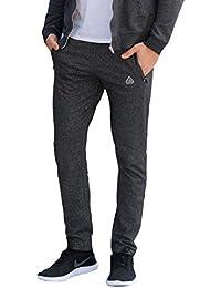 Men's Soccer Track Training Pants Athletic Sweatpants with Zipper Pockets Black Heather Grey Short Long Inseam