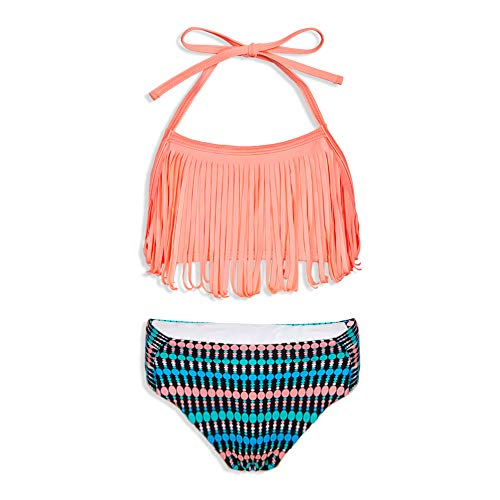 (MHJY Girl Swimsuit 2-Piece Swimwear Tankini Bikini Set Unicorn Tassel Pompoms Beachwear Bathing Suits 2-8Years)
