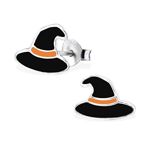 Black Witches Hat Earrings Halloween Sterling Silver Children Girls Studs Earrings (E26508) ()