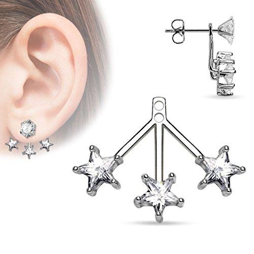 Coolbodyart Femme Piercing D'oreille Goujons Boucle D'oreille Cartilage Haltère étoiles recouvert argent avec transparents Longueur Zircone: 20,5mm Largeur : 24,5 mm CBAED-11