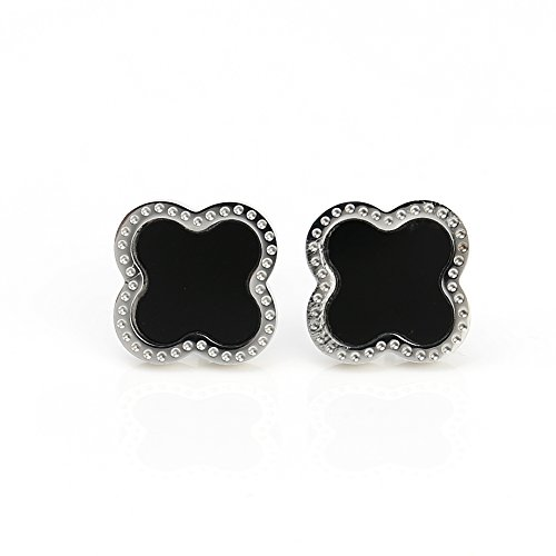 Delicate Silver (White Gold) Tone Post Earrings with Contemporary Clover Design and Faux Onyx Inlay (Designer Onyx Stud)