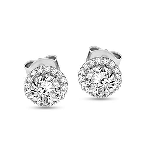 Lab Grown IGI Certified 10K White Gold 1 1/2 carat- 2 carat Diamond Halo Stud Earrings SI-SI2-HI Quality Lab Created…