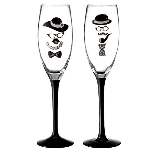 V-More V-More Wedding Toast Champagne Flute Set Wedding Toasting Glasses with Hand Painted Gentleman & Lady Decal for Wedding Special Party Home Decor Gift 8 Oz (Set of 2)