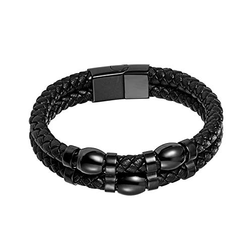 2019 European Trend Black Multi-Layer Leather Bracelet Men Jewelry Stainless Steel Magnetic Clasp Fashion Vintage,22.5cm