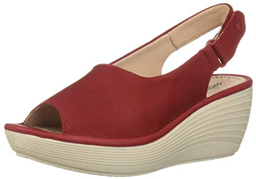 Nubuck Leather Wedge - CLARKS Women's Reedly Shaina Wedge Sandal, red Nubuck 110 W US