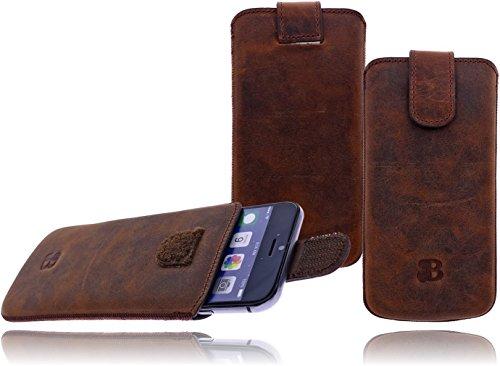 Burkley Premium Wetcase Leder Handy-Tasche für Apple iPhone 7 in 4,7 Zoll Sleeve Etui Schutz-Hülle mit Easy-Out System und Klettverschluss in kaffee braun
