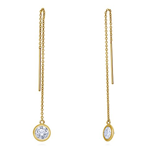 Yellow Gold Dangling Threader Earrings - 7