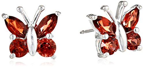 Sterling Silver .88 Cttw Garnet Butterfly Stud Earrings