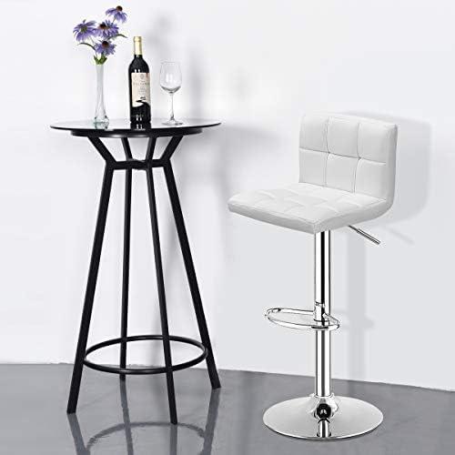 WATERJOY Square backrest bar Chair Modern Swivel Bar Stool Semicircular Footrest Bistro Chair,Plastic Handle Adjustable Hydraulic Swivel Pub Chair,PU Leather Cushion Backrest Counter Chair White