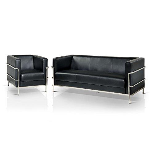 HOMES: Inside + Out IDF-6791BK-2PC Whane Contemporary Living Room Sofa Set, Black