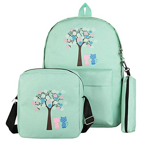 Creazy Cute Backpack, 3Pcs Fashion Women Student Pattern Canvas School Backpacks+Crossbody Bag+Pen Bag (Green)