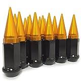 23 ORANGE SPIKE LUG NUTS 1/2''X20 WRANGLER RUBICON TJ YJ JK CJ RIMS   SPIKED LUG NUTS (BLACK/ORANGE)