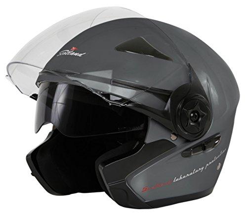 Negro Mate Scotland Casco Moto//Scooter con Visera Larga Force 03 XS 53-54
