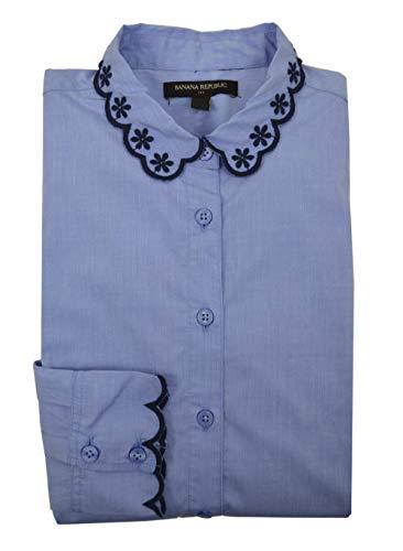 Banana Republic Women's Tailored Long Sleeve Embroidered-Neck Shirt (8) Banana Republic Long Sleeve Shirt