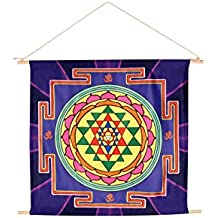 """21""""X22"""" Energized Sacred Geometry Hindu/Buddhism Vedic Tantra 'Sri Yantra' Meditation Banner for Peace,prosperity,manifestation and abundance (Made in accordance to ancient scriptures),Home Wall decor"""