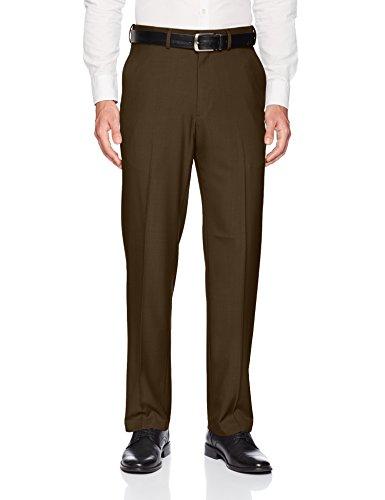 Haggar Men's Premium Comfort Classic Fit Flat Front Expandable Waist Pant, Dark Chocolate, ()