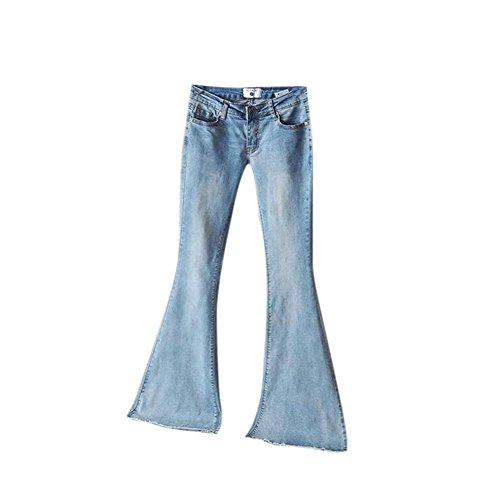 Keephen Pantalones de Mezclilla Vintage para Mujeres Pantalones de Cintura Elástica Suave Alta Pantalones Acampanados Delgados Azul Claro