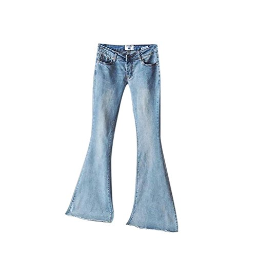 Hellomiko Retro Dcontract Dames Mode mi-Hauteur Haute lastiques Slim Zip vass Denim Bleu Clair