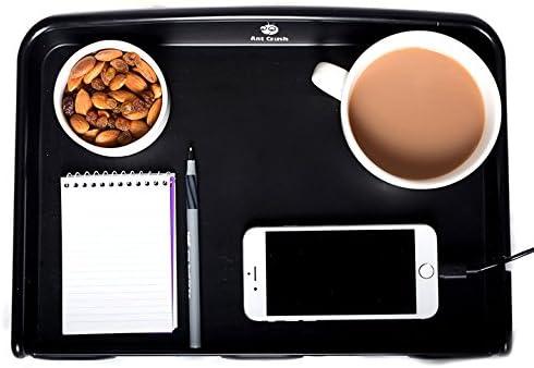 AntCrush Table de chevet amovible /à clipper plateau /à bords relev/és avec porte-gobelet int/égr/é et encoche pour le c/âble du t/él/éphone id/éal pour les /étudiants