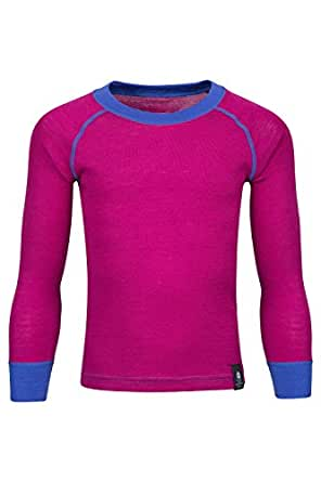 Mountain Warehouse Merino Kids Round Neck Thermal Baselayer Top – Full Sleeves, Light, Breathable, Quick Dry Childrens T-Shirt - For Camping in Cold Weather Pink 5-6